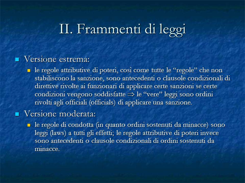 II. Frammenti di leggi Versione estrema: Versione estrema: le regole attributive di poteri, così come tutte le regole che non stabiliscono la sanzione