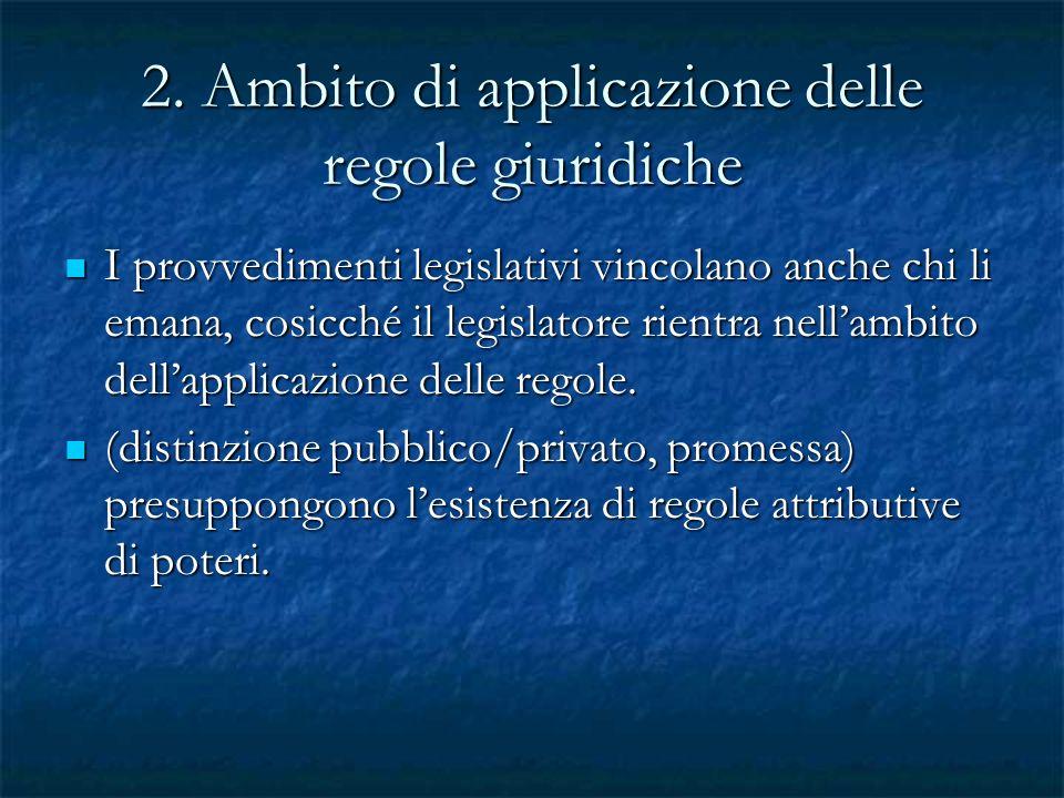 2. Ambito di applicazione delle regole giuridiche I provvedimenti legislativi vincolano anche chi li emana, cosicché il legislatore rientra nellambito