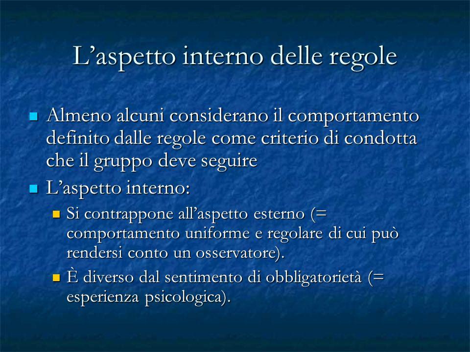 Laspetto interno delle regole Almeno alcuni considerano il comportamento definito dalle regole come criterio di condotta che il gruppo deve seguire Al