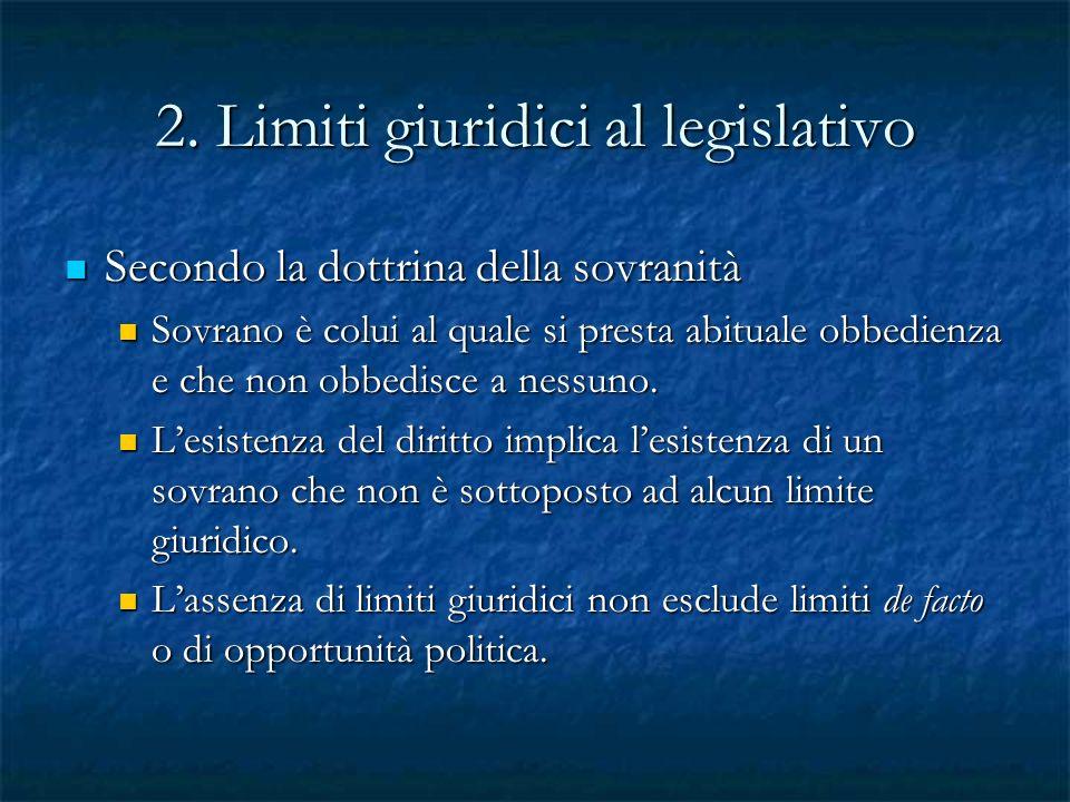 2. Limiti giuridici al legislativo Secondo la dottrina della sovranità Secondo la dottrina della sovranità Sovrano è colui al quale si presta abituale