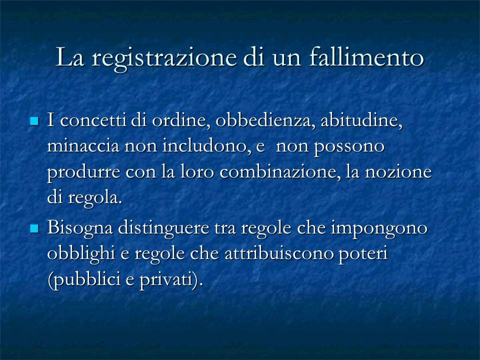 La registrazione di un fallimento I concetti di ordine, obbedienza, abitudine, minaccia non includono, e non possono produrre con la loro combinazione