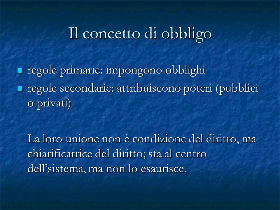 Il concetto di obbligo regole primarie: impongono obblighi regole primarie: impongono obblighi regole secondarie: attribuiscono poteri (pubblici o pri