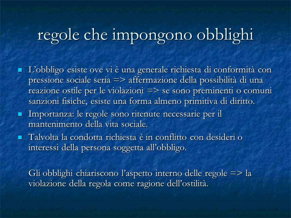 regole che impongono obblighi Lobbligo esiste ove vi è una generale richiesta di conformità con pressione sociale seria => affermazione della possibil