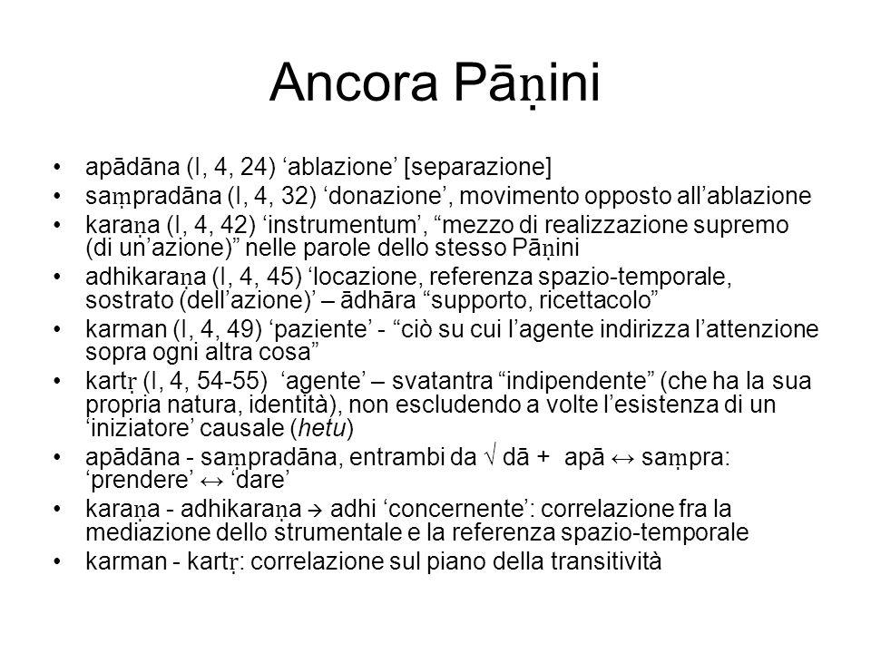 Ancora Pā ini apādāna (I, 4, 24) ablazione [separazione] sa pradāna (I, 4, 32) donazione, movimento opposto allablazione kara a (I, 4, 42) instrumentu