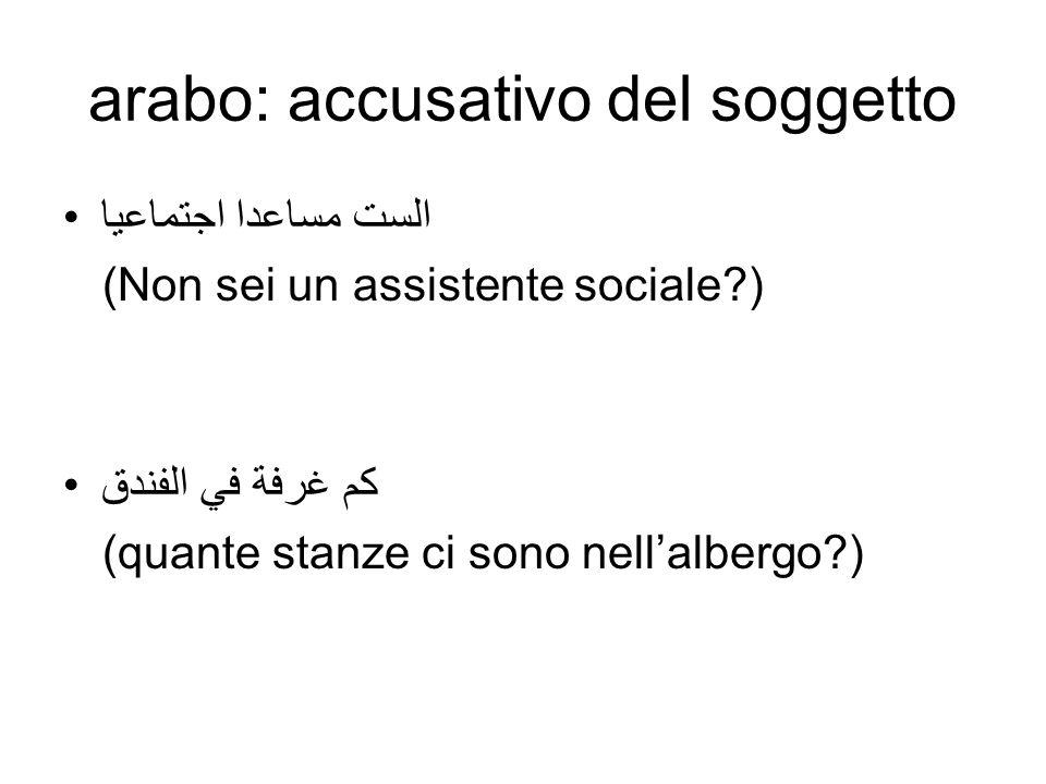 arabo: accusativo del soggetto الست مساعدا اجتماعيا (Non sei un assistente sociale?) كم غرفة في الفندق (quante stanze ci sono nellalbergo?)