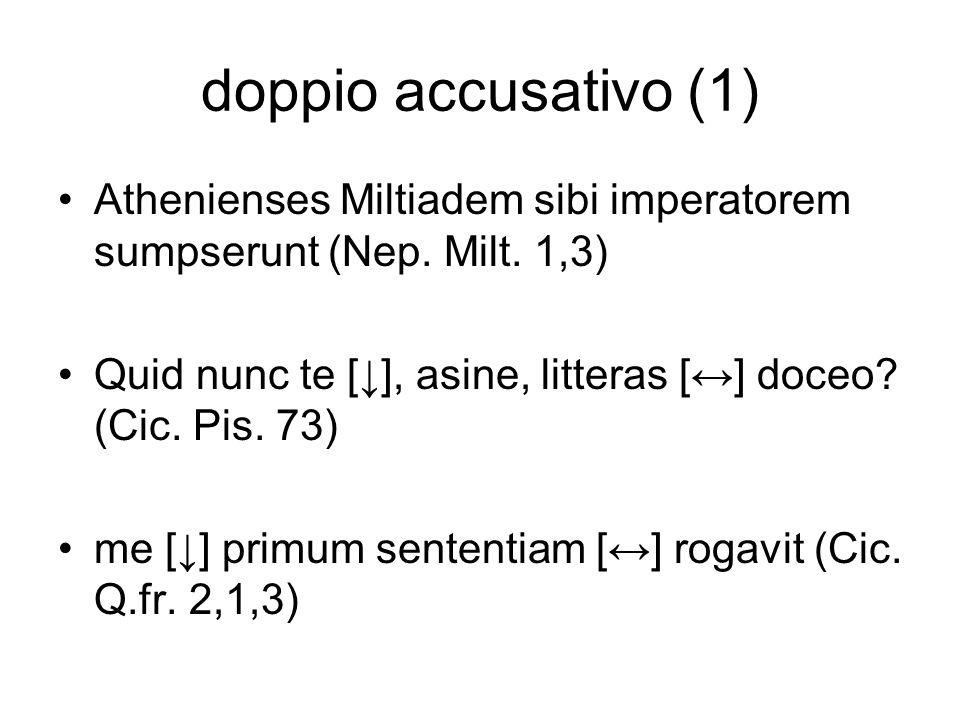 doppio accusativo (1) Athenienses Miltiadem sibi imperatorem sumpserunt (Nep. Milt. 1,3) Quid nunc te [], asine, litteras [] doceo? (Cic. Pis. 73) me