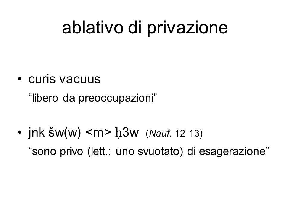 ablativo di privazione curis vacuus libero da preoccupazioni jnk šw(w) 3w (Nauf. 12-13) sono privo (lett.: uno svuotato) di esagerazione