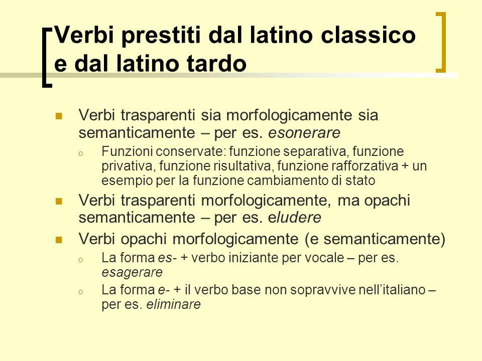 Verbi prestiti dal latino classico e dal latino tardo Verbi trasparenti sia morfologicamente sia semanticamente – per es. esonerare o Funzioni conserv
