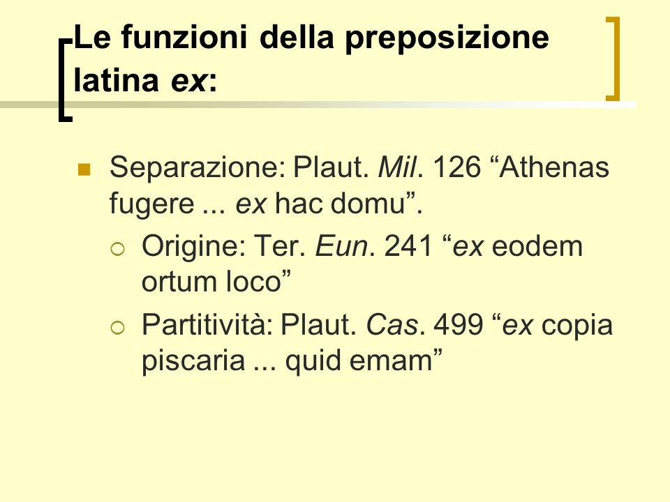 Le funzioni della preposizione latina ex: Separazione: Plaut. Mil. 126 Athenas fugere... ex hac domu. Origine: Ter. Eun. 241 ex eodem ortum loco Parti