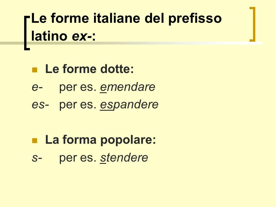 Le forme italiane del prefisso latino ex-: Le forme dotte: e-per es. emendare es- per es. espandere La forma popolare: s-per es. stendere