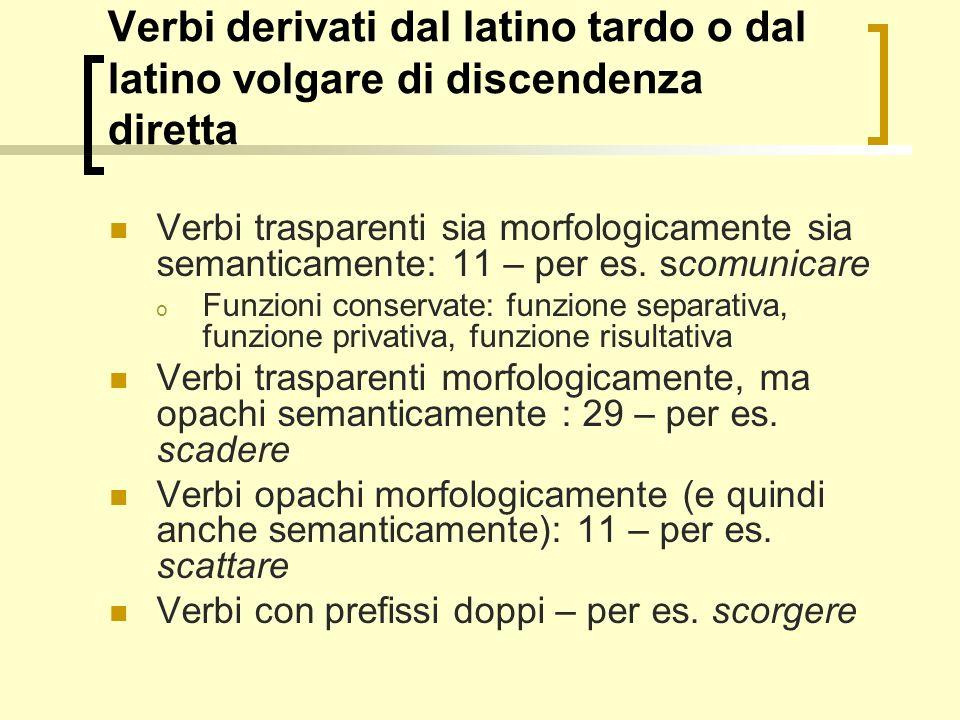 Verbi derivati dal latino tardo o dal latino volgare di discendenza diretta Verbi trasparenti sia morfologicamente sia semanticamente: 11 – per es. sc