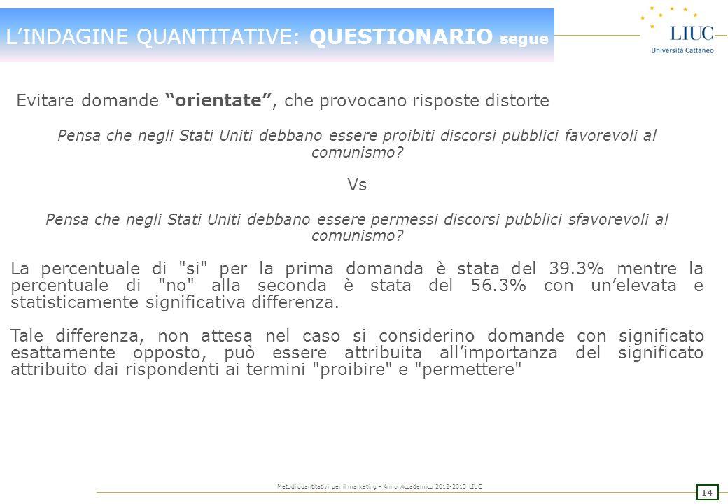 13 Metodi quantitativi per il marketing – Anno Accademico 2012-2013 LIUC LINDAGINE QUANTITATIVE: QUESTIONARIO segue In termini di CONTENUTO E VERBALIZ