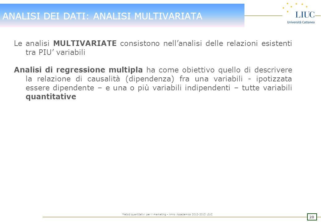 19 Metodi quantitativi per il marketing – Anno Accademico 2012-2013 LIUC ANALISI DEI DATI: ANALISI BIVARIATA Le analisi BIVARIATE consistono nellanali