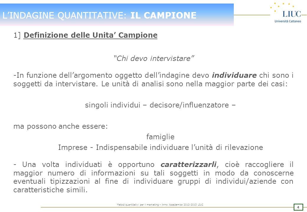 3 Metodi quantitativi per il marketing – Anno Accademico 2012-2013 LIUC LINDAGINE QUANTITATIVE: IMPLEMENTAZIONE Contemporaneamente alla definizione de