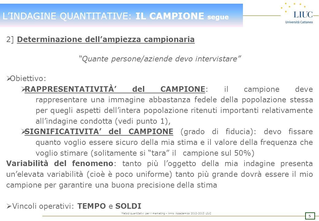 4 Metodi quantitativi per il marketing – Anno Accademico 2012-2013 LIUC LINDAGINE QUANTITATIVE: IL CAMPIONE 1] Definizione delle Unita Campione Chi de