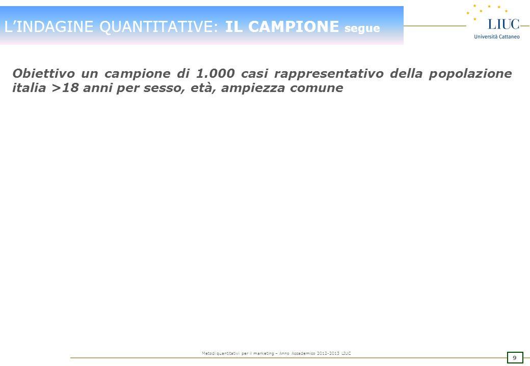 8 Metodi quantitativi per il marketing – Anno Accademico 2012-2013 LIUC LINDAGINE QUANTITATIVE: IL CAMPIONE segue Campione probabilistico: ogni unità