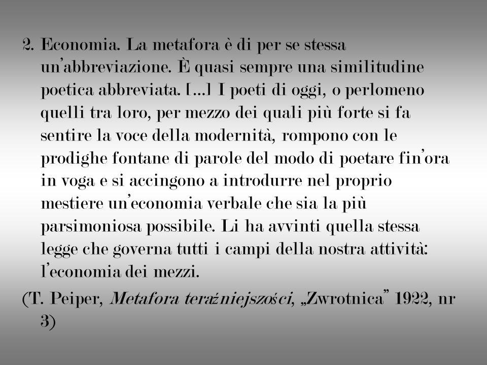 2. Economia. La metafora è di per se stessa unabbreviazione. È quasi sempre una similitudine poetica abbreviata. […] I poeti di oggi, o perlomeno quel
