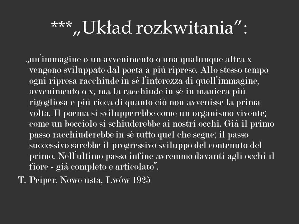 ***Układ rozkwitania: unimmagine o un avvenimento o una qualunque altra x vengono sviluppate dal poeta a più riprese. Allo stesso tempo ogni ripresa r