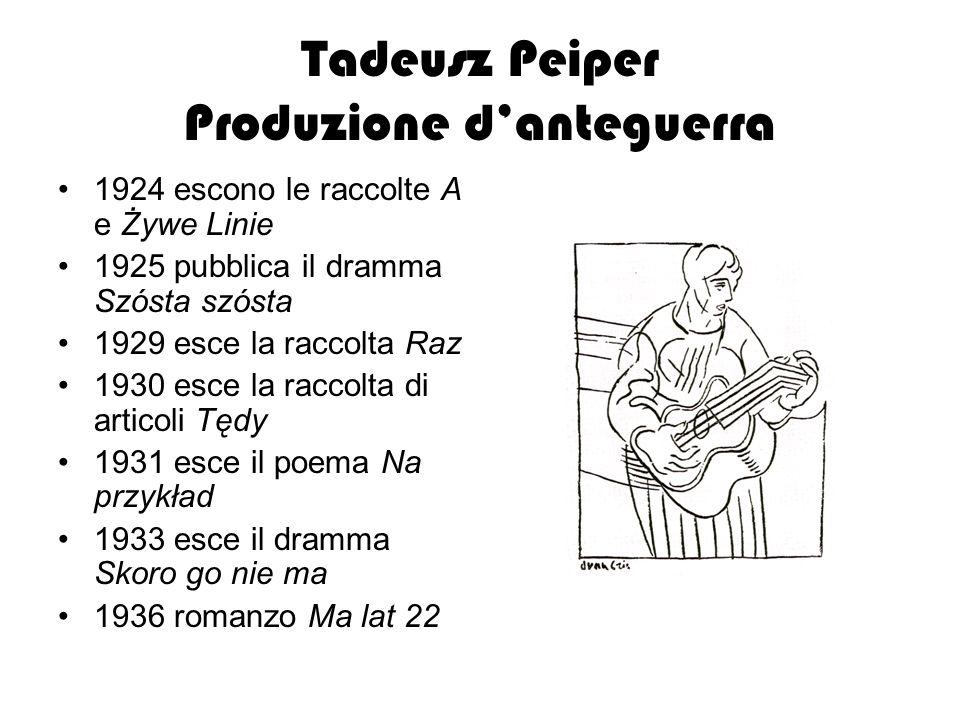 Tadeusz Peiper Produzione danteguerra 1924 escono le raccolte A e Żywe Linie 1925 pubblica il dramma Szósta szósta 1929 esce la raccolta Raz 1930 esce