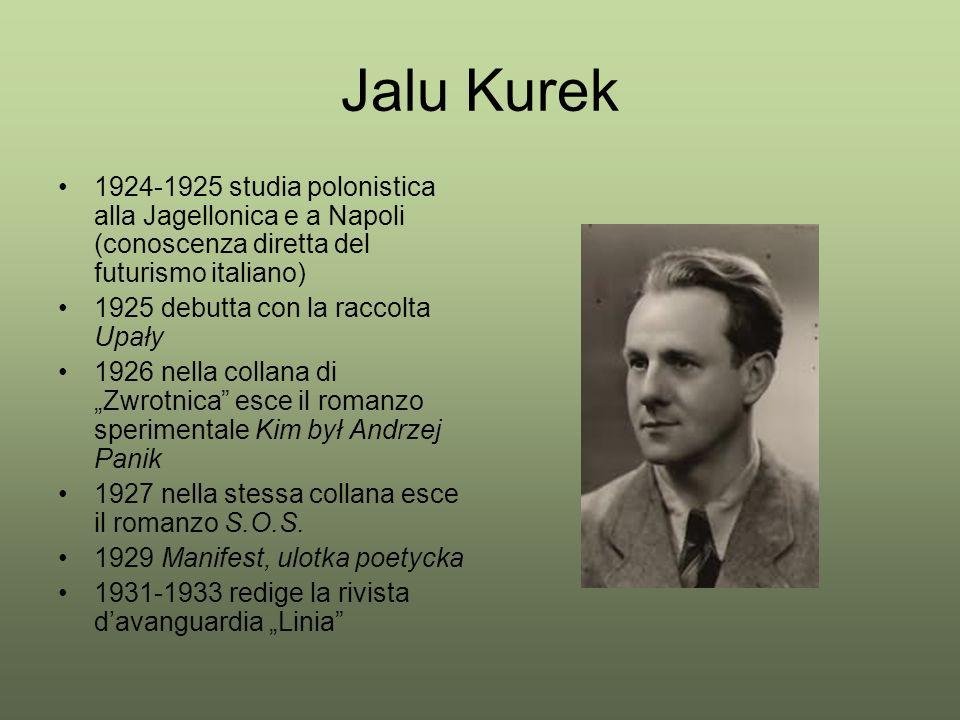 Jalu Kurek 1924-1925 studia polonistica alla Jagellonica e a Napoli (conoscenza diretta del futurismo italiano) 1925 debutta con la raccolta Upały 192