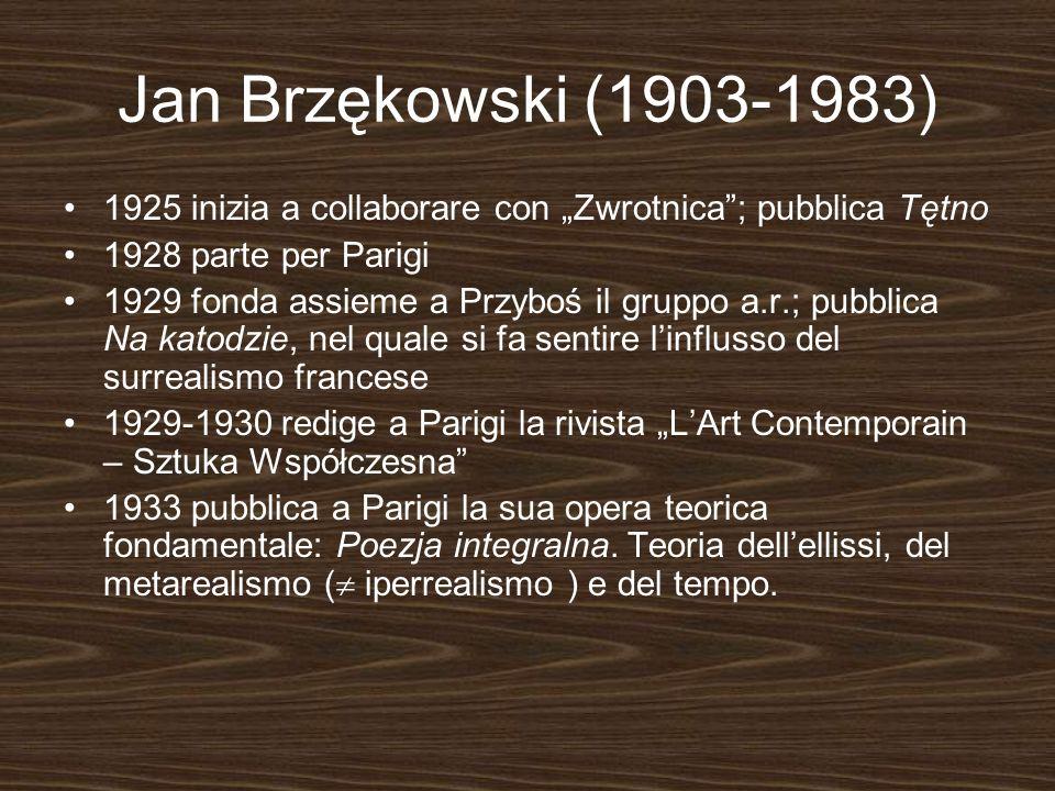 Jan Brzękowski (1903-1983) 1925 inizia a collaborare con Zwrotnica; pubblica Tętno 1928 parte per Parigi 1929 fonda assieme a Przyboś il gruppo a.r.;