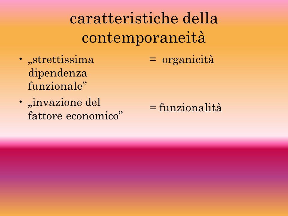 caratteristiche della contemporaneità strettissima dipendenza funzionale invazione del fattore economico = organicità = funzionalità