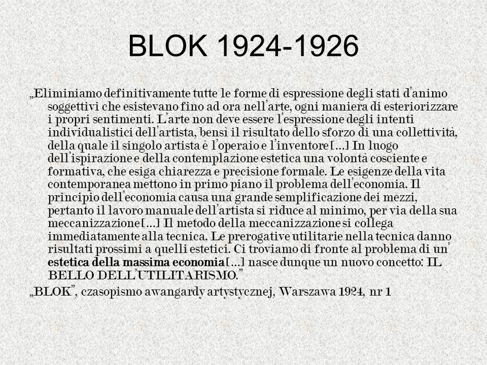 BLOK 1924-1926 Eliminiamo definitivamente tutte le forme di espressione degli stati danimo soggettivi che esistevano fino ad ora nellarte, ogni manier