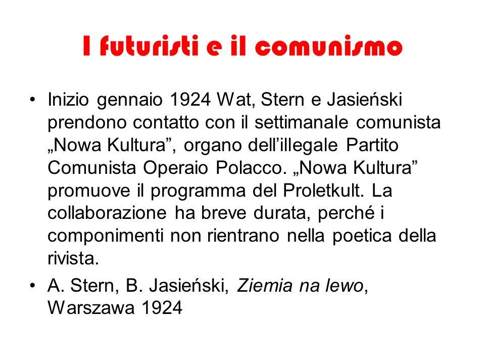 I futuristi e il comunismo Inizio gennaio 1924 Wat, Stern e Jasieński prendono contatto con il settimanale comunista Nowa Kultura, organo dellillegale