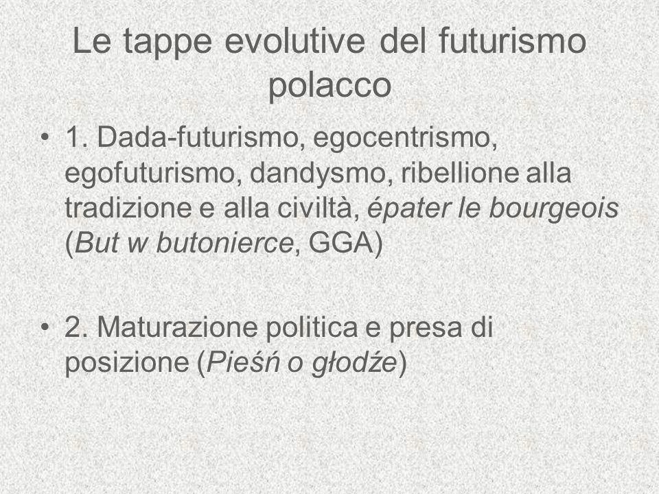 Le tappe evolutive del futurismo polacco 1. Dada-futurismo, egocentrismo, egofuturismo, dandysmo, ribellione alla tradizione e alla civiltà, épater le