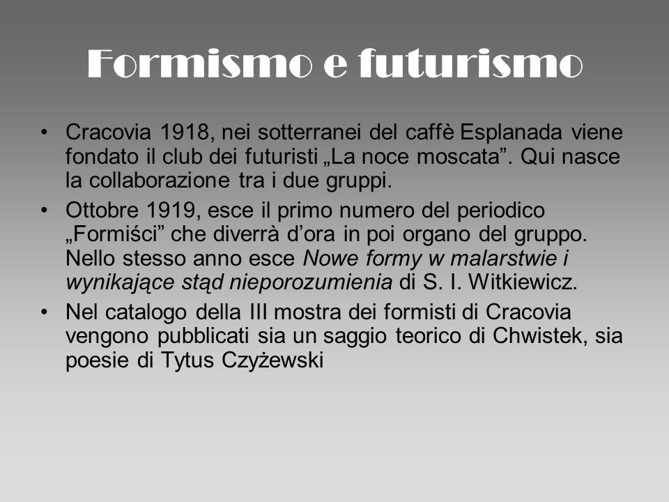 Formismo e futurismo Cracovia 1918, nei sotterranei del caffè Esplanada viene fondato il club dei futuristi La noce moscata. Qui nasce la collaborazio