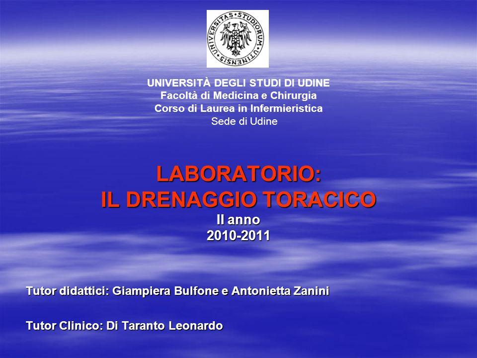 LABORATORIO: IL DRENAGGIO TORACICO II anno 2010-2011 Tutor didattici: Giampiera Bulfone e Antonietta Zanini Tutor Clinico: Di Taranto Leonardo UNIVERS