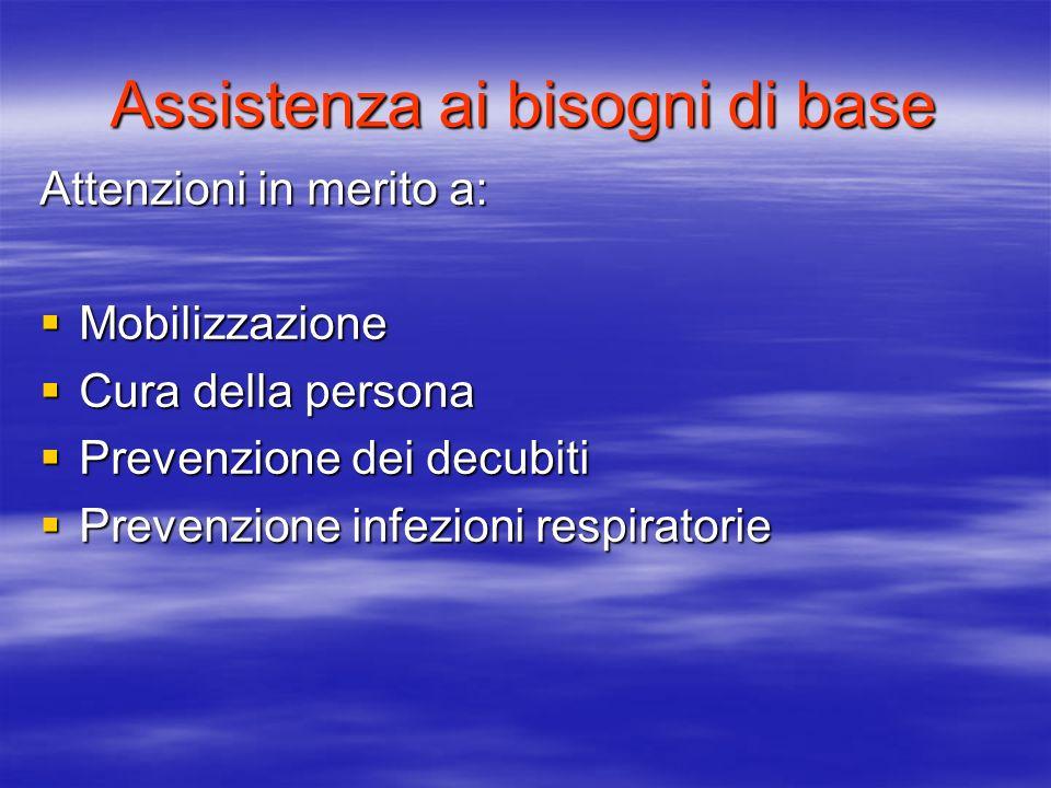 Assistenza ai bisogni di base Attenzioni in merito a: Mobilizzazione Mobilizzazione Cura della persona Cura della persona Prevenzione dei decubiti Pre