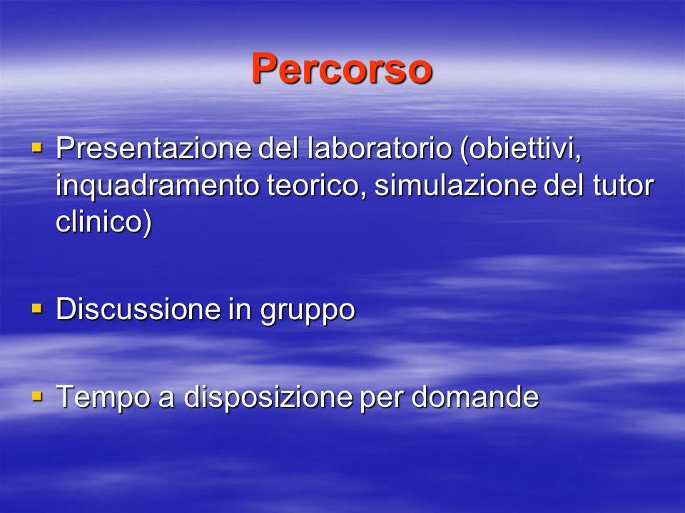 Percorso Presentazione del laboratorio (obiettivi, inquadramento teorico, simulazione del tutor clinico) Presentazione del laboratorio (obiettivi, inq