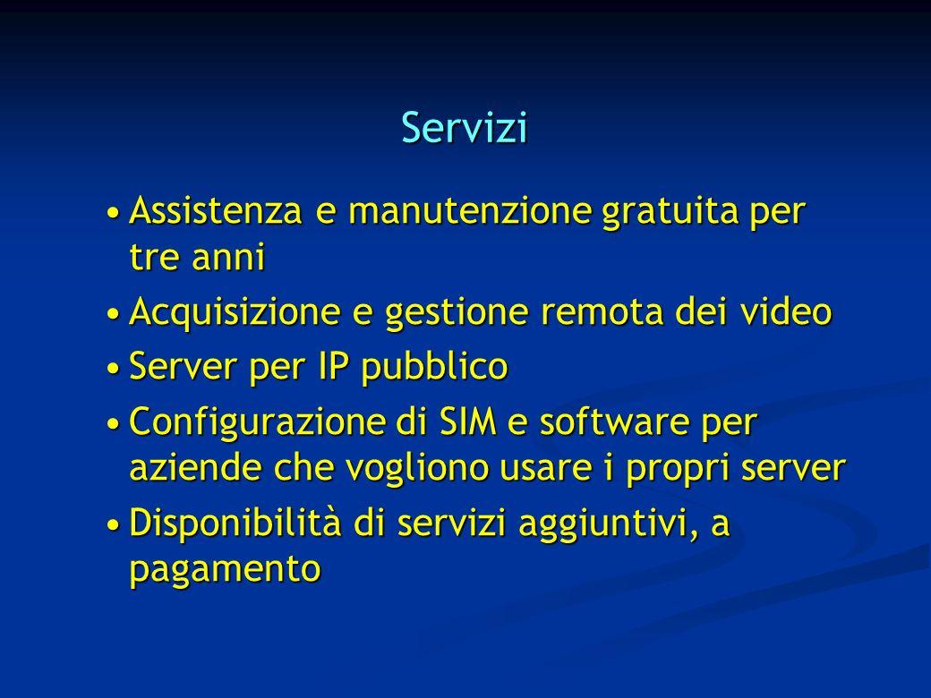 Servizi Assistenza e manutenzione gratuita per tre anniAssistenza e manutenzione gratuita per tre anni Acquisizione e gestione remota dei videoAcquisizione e gestione remota dei video Server per IP pubblicoServer per IP pubblico Configurazione di SIM e software per aziende che vogliono usare i propri serverConfigurazione di SIM e software per aziende che vogliono usare i propri server Disponibilità di servizi aggiuntivi, a pagamentoDisponibilità di servizi aggiuntivi, a pagamento