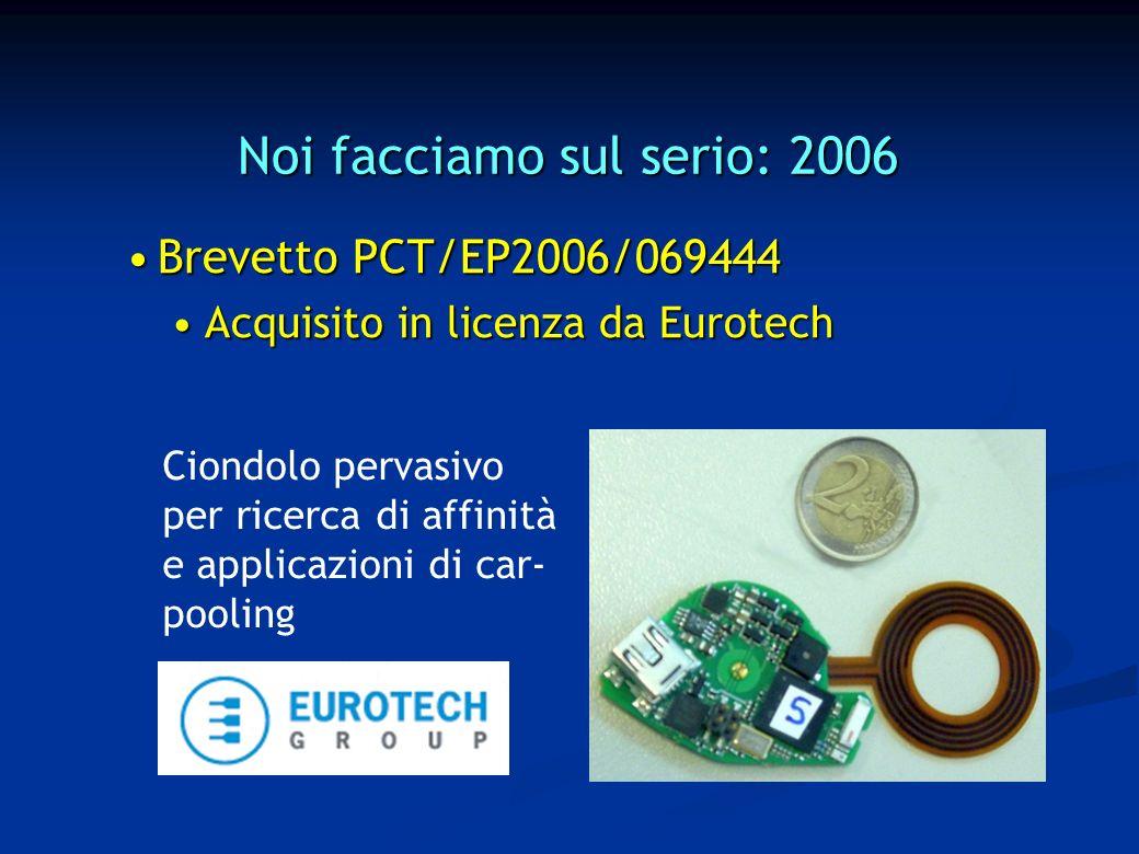 Noi facciamo sul serio: 2006 Brevetto PCT/EP2006/069444Brevetto PCT/EP2006/069444 Acquisito in licenza da EurotechAcquisito in licenza da Eurotech Ciondolo pervasivo per ricerca di affinità e applicazioni di car- pooling