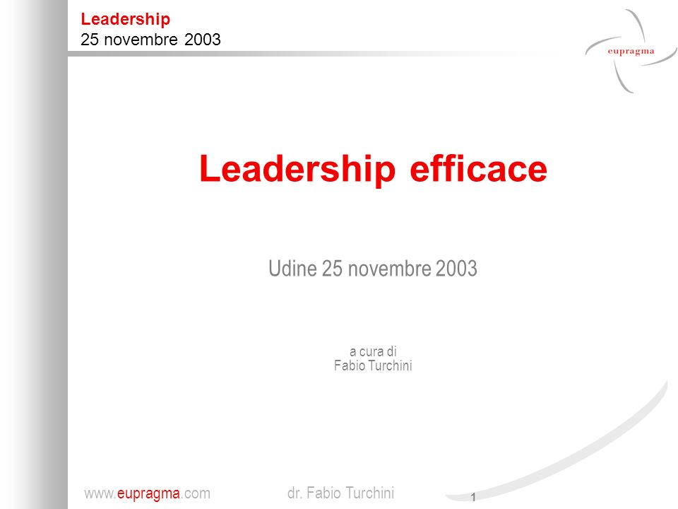 1 Leadership 25 novembre 2003 www.eupragma.com dr.