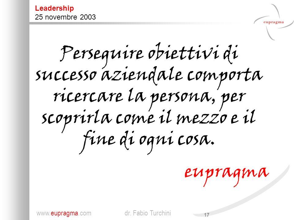 17 Leadership 25 novembre 2003 www.eupragma.com dr.