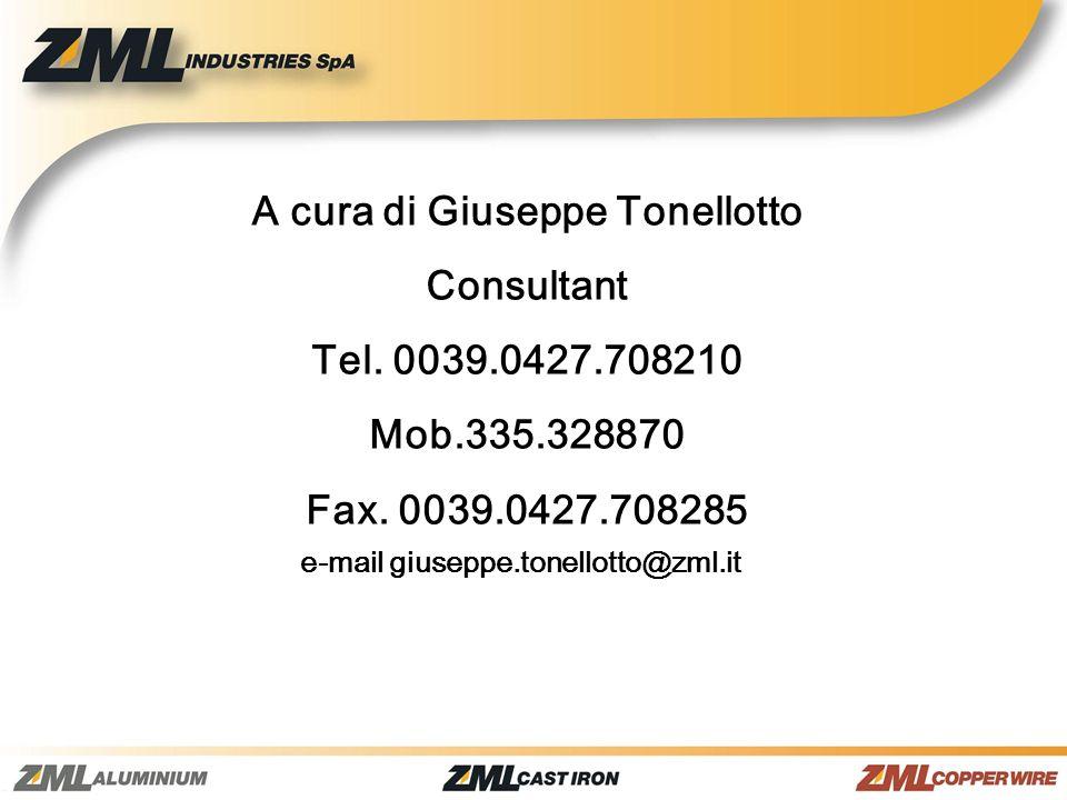A cura di Giuseppe Tonellotto Consultant Tel. 0039.0427.708210 Mob.335.328870 Fax. 0039.0427.708285 e-mail giuseppe.tonellotto@zml.it
