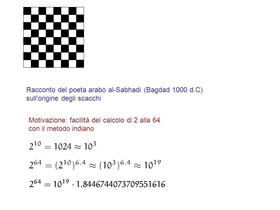 Racconto del poeta arabo al-Sabhadi (Bagdad 1000 d.C) sullorigine degli scacchi Motivazione: facilità del calcolo di 2 alla 64 con il metodo indiano