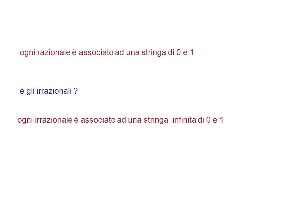 ogni razionale è associato ad una stringa di 0 e 1 e gli irrazionali ? ogni irrazionale è associato ad una stringa infinita di 0 e 1