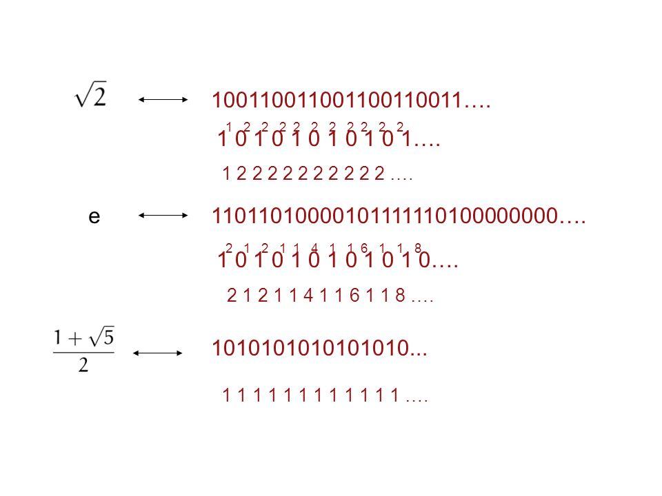 100110011001100110011…. 1 0 1 0 1 0 1 0 1 0 1…. 1 2 2 2 2 2 2 2 2 2 2 1 2 2 2 2 2 2 2 2 2 2 ….
