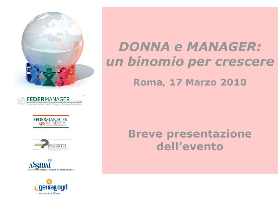 DONNA e MANAGER: un binomio per crescere Roma, 17 Marzo 2010 Breve presentazione dellevento