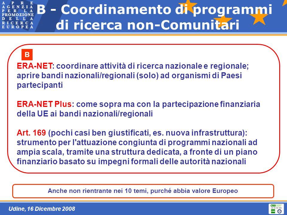 Udine, 16 Dicembre 2008 B - Coordinamento di programmi di ricerca non-Comunitari ERA-NET: coordinare attività di ricerca nazionale e regionale; aprire bandi nazionali/regionali (solo) ad organismi di Paesi partecipanti ERA-NET Plus: come sopra ma con la partecipazione finanziaria della UE ai bandi nazionali/regionali Art.