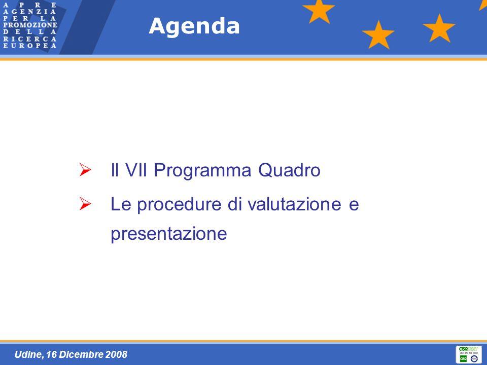 Udine, 16 Dicembre 2008 Agenda Il VII Programma Quadro Le procedure di valutazione e presentazione