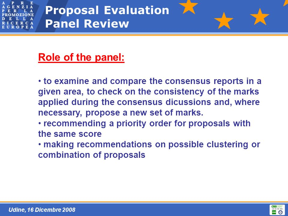 Udine, 16 Dicembre 2008 Proposal Evaluation Panel Review Role of the panel: to examine and compare the consensus reports in a given area, to check on the consistency of the marks applied during the consensus dicussions and, where necessary, propose a new set of marks.