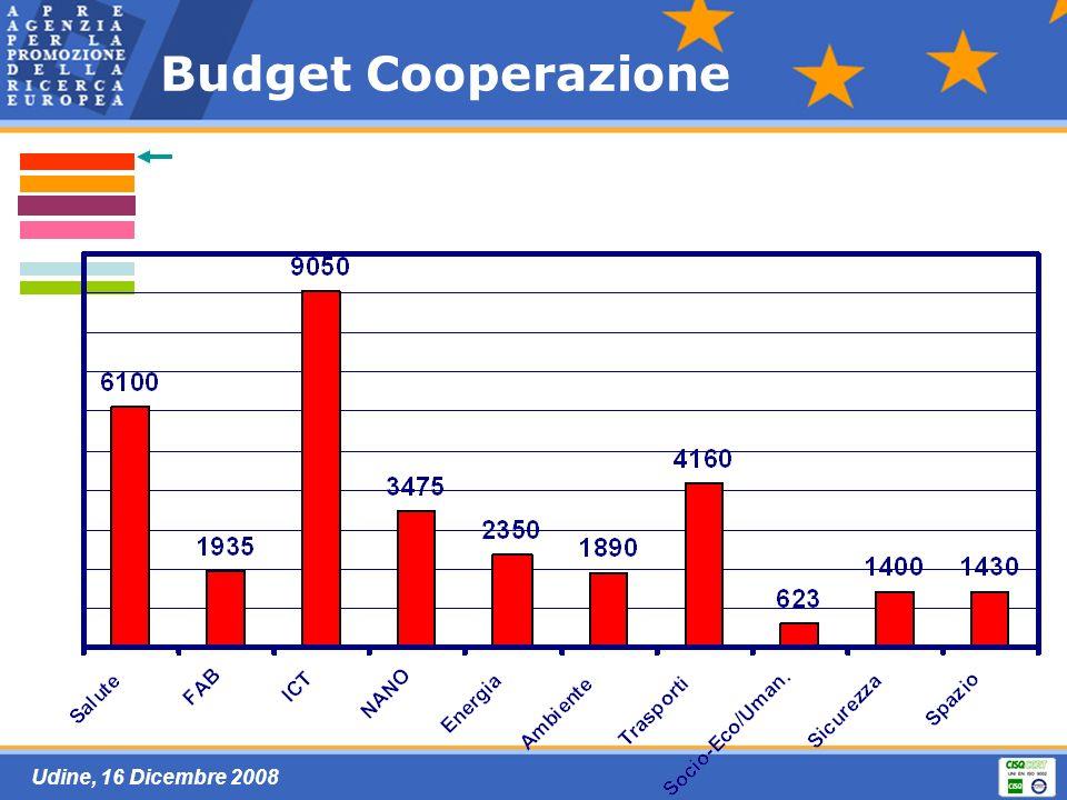 Udine, 16 Dicembre 2008 Budget Cooperazione