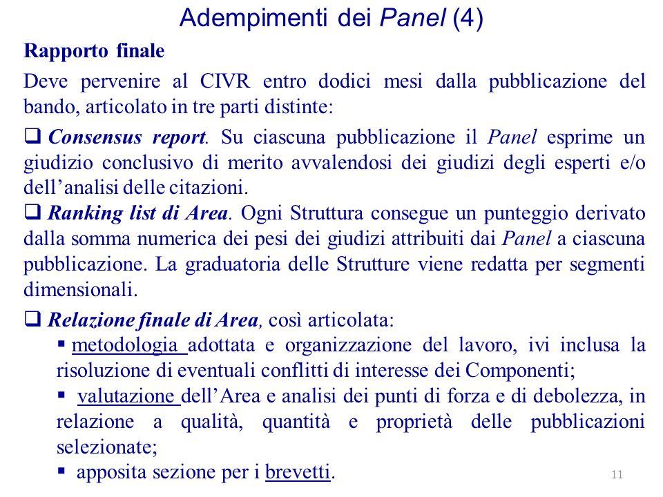 Adempimenti dei Panel (4) Rapporto finale Deve pervenire al CIVR entro dodici mesi dalla pubblicazione del bando, articolato in tre parti distinte: Consensus report.