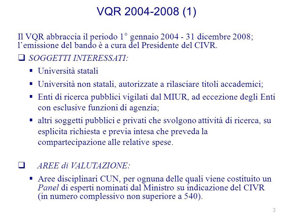 VQR 2004-2008 (1) Il VQR abbraccia il periodo 1° gennaio 2004 - 31 dicembre 2008; lemissione del bando è a cura del Presidente del CIVR.