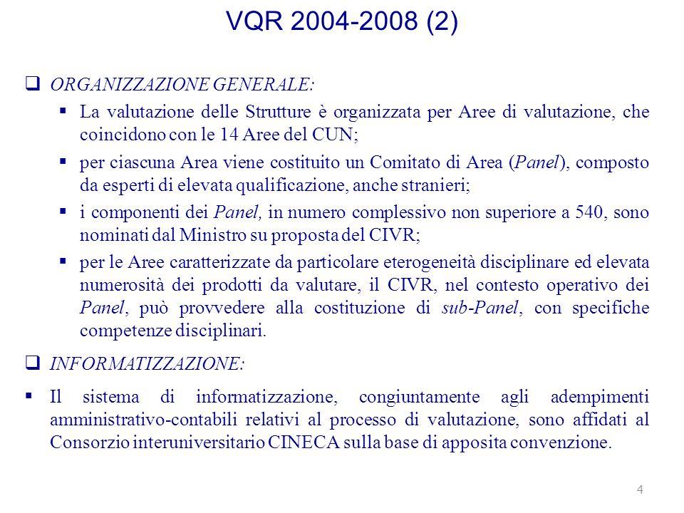 VQR 2004-2008 (2) ORGANIZZAZIONE GENERALE: La valutazione delle Strutture è organizzata per Aree di valutazione, che coincidono con le 14 Aree del CUN; per ciascuna Area viene costituito un Comitato di Area (Panel), composto da esperti di elevata qualificazione, anche stranieri; i componenti dei Panel, in numero complessivo non superiore a 540, sono nominati dal Ministro su proposta del CIVR; per le Aree caratterizzate da particolare eterogeneità disciplinare ed elevata numerosità dei prodotti da valutare, il CIVR, nel contesto operativo dei Panel, può provvedere alla costituzione di sub-Panel, con specifiche competenze disciplinari.