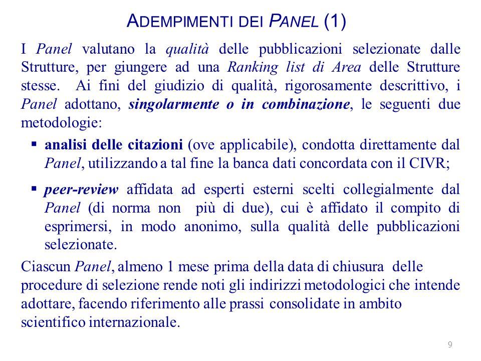 A DEMPIMENTI DEI P ANEL (1) I Panel valutano la qualità delle pubblicazioni selezionate dalle Strutture, per giungere ad una Ranking list di Area delle Strutture stesse.